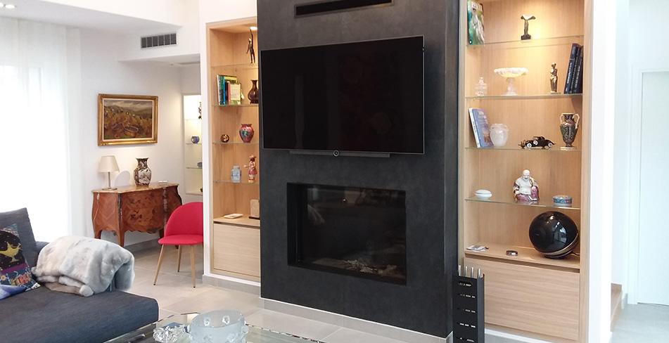 Séjou meuble télévision cheminée bibliothèque
