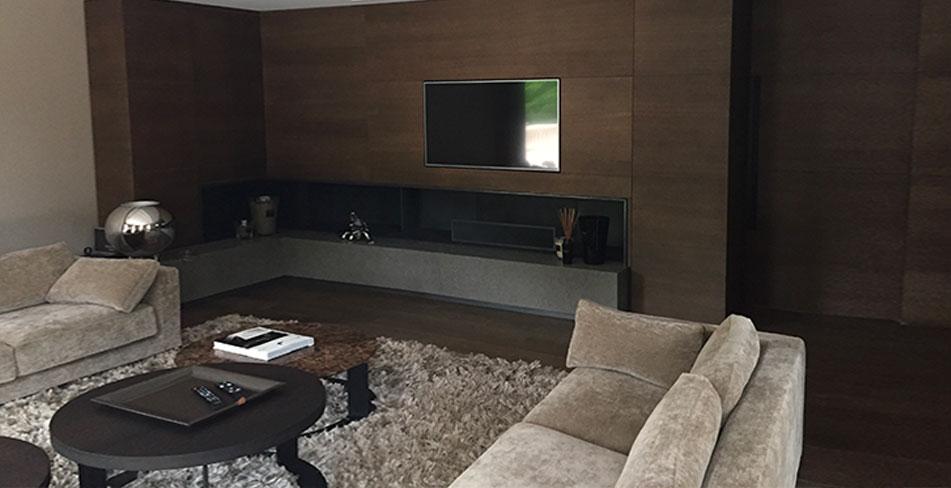 Séjour mobilier meuble television cheminée